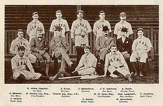 Derby County Baseball Club - An early team with Steve Bloomer on 2nd base and Jack Robinson on 3rd. Francis Ley is in the bowler.