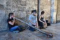 Didgeridoo and drooms street players at the Torres de Serrans 02.jpg