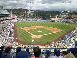 2015 Cricket All-Stars Series - Image: Dodger Stadium field from upper deck 2015 10 04