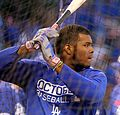 Dodgers outfielder Yasiel Puig takes batting practice before NLCS Game 6. (30388282682).jpg