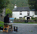 Dominican Republic Artist Olivia Peguero painting in the Hamlet of Stonethwaite, Lake District National Park, England 2014.jpg