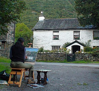 Olivia Peguero - Dominican Republic Artist Olivia Peguero painting in the Hamlet of Stonethwaite, Lake District National Park, England 2014