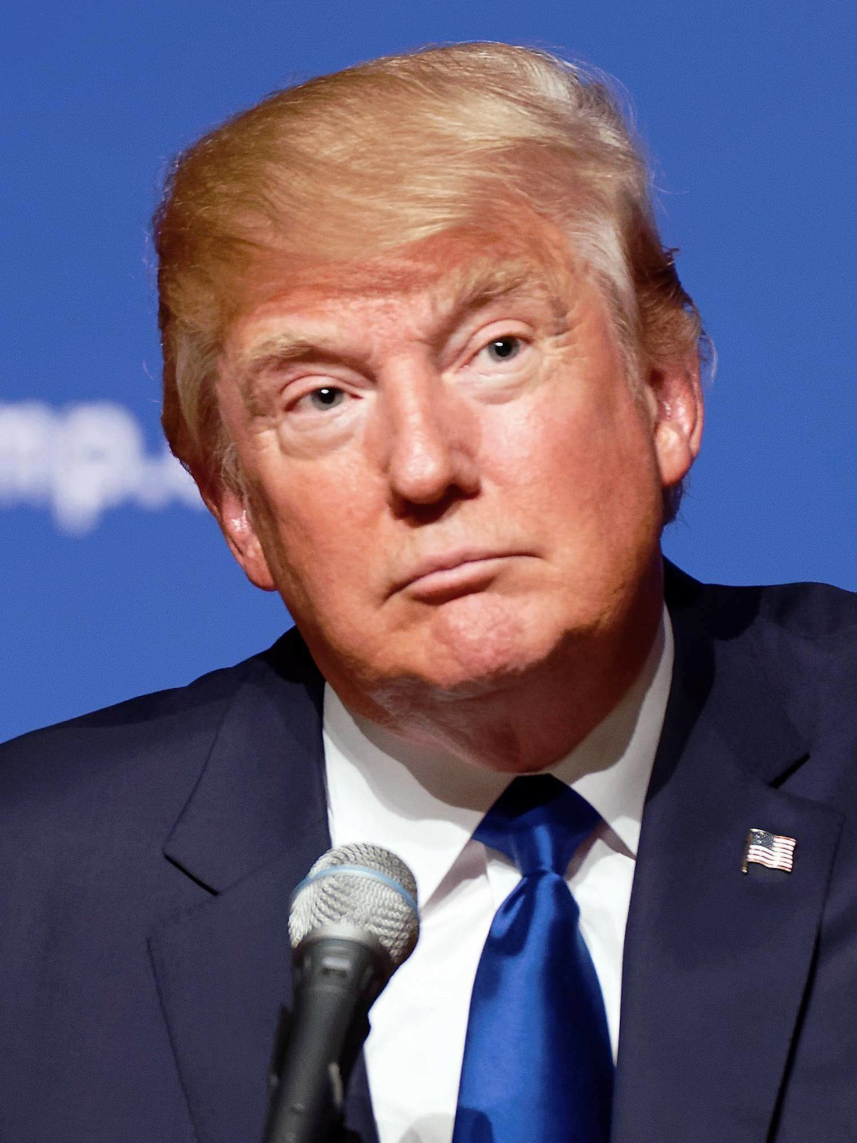 Portrait of Donald Trump during a campaign event on August 19, 2015
