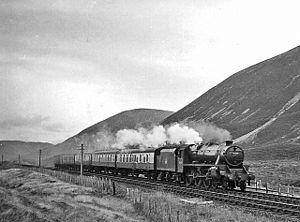 Pass of Drumochter - Train near Drumochter Summit in 1957