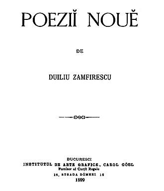 Duiliu Zamfirescu - First page of Poezii nouă, 1899