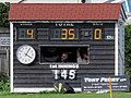 Dunmow Cricket Club scoreboard box, Essex, England 2.jpg