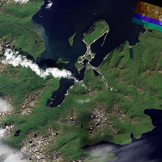 Unalaska, Alaska - Satellite view of Dutch Harbor.