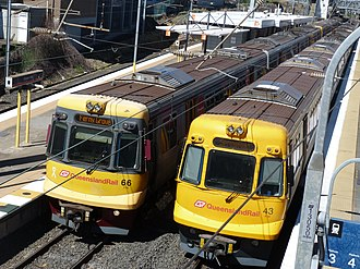 Electric multiple unit (Queensland Rail) - EMU66 and EMU43 at Bowen Hills