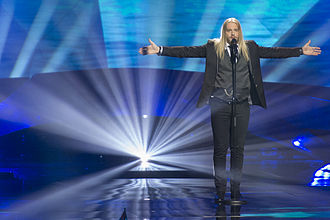 Iceland in the Eurovision Song Contest 2013 - Eythor Ingi at the second semi-final dress rehearsal in Malmö.