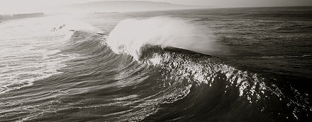 Breaking swell waves at Hermosa Beach, California Early 90's Bangs.jpg