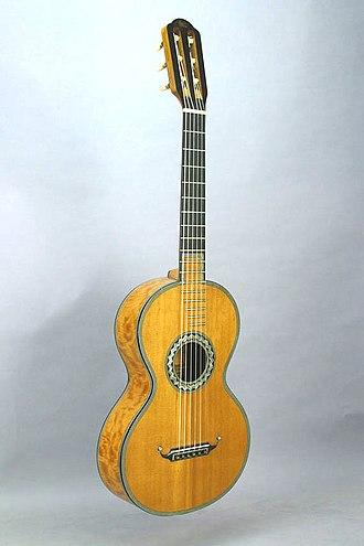 Romantic guitar - Image: Early romantic guitar by Pierre Rene Lacote (FRETS.com Museum)