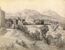 Il lungocalore nel XIX secolo in un disegno dell'artista tedesco Edmund Kanoldt. Sullo sfondo sono le cime della