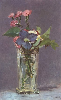 œillets Et Clematites Dans Un Vase De Cristal Wikipedia
