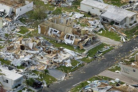Aerial image of destroyed homes in Punta Gorda, Florida, following Hurricane Charley in summer of 2004