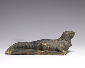 Sobek - This Late Period (c. 400–250 BCE) statue shows Sobek bearing the falcon head of Re-Harakhti, illustrating the fusion of Sobek and Re into Sobek-Re. Walters Art Museum, Baltimore.