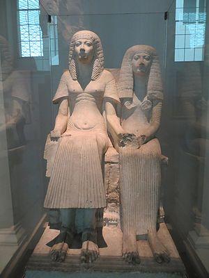 Statue of Horemheb and Amenia - Image: Egyptian Couple BM (1)