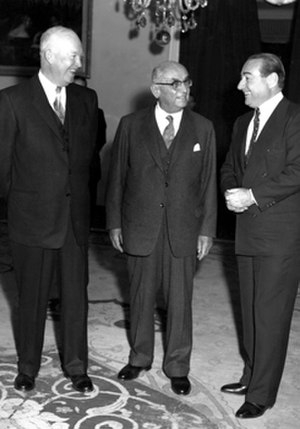 Adnan Menderes - President Dwight D. Eisenhower meets with President Celal Bayar and Prime Minister Adnan Menderes at the Presidential Residence in Çankaya (December 1959).
