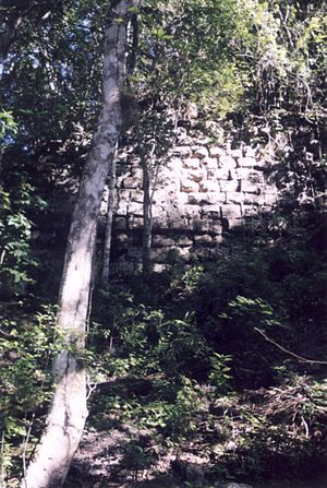 El Mirador - Exposed stonework at El Mirador in 2000