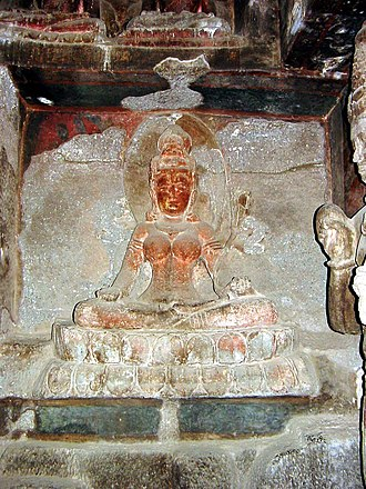 Ellora Caves - Numerous tantric Buddhist goddesses are carved in Ellora Cave 12.