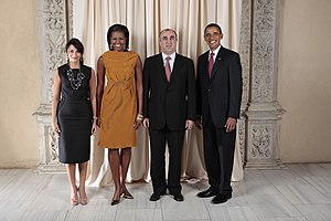 Minister of Foreign Affairs (Azerbaijan) - Incumbent Minister of Foreign Affairs and his spouse with President Barack Obama and First Lady Michelle Obama