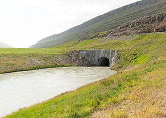 Skriðuklaustur -  The end of the tunnel at Skriðuklaustur leading water from Kárahnjúkastífla Dam to the power plant.