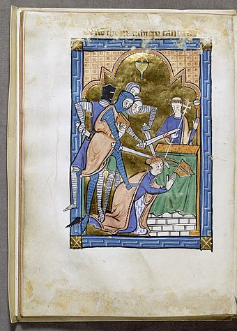 Miniature from an English psalter presenting a spirited account of the murder of Archbishop Becket, c. 1250, Walters Art Museum English - Martyrdom of Saint Thomas Becket - Walters W3415V - Open Reverse.jpg
