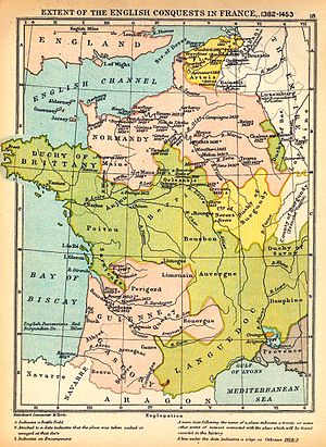 Despenser's Crusade - Map of France in 1382, showing English conquests in pink and Flanders (top) in yellow