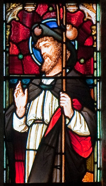 Datei:Enniscorthy St. Aidan's Cathedral West Aisle Fourth Window Apostle Jacobus Major Detail 2009 09 28.jpg