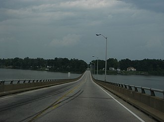 Charles City County, Virginia - Crossing the James River on Benjamin Harrison Bridge from the South to enter Charles City County