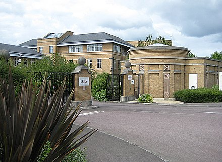 The entrance to UCAS in 2008; it has around 37,000 courses at 370 institutions; it is in the north of Cheltenham, near the racecoursein Prestbury at A435/B4075 junction