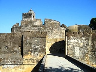 Diu district - Diu Fort was built in 1535 by the Portuguese, when Bahadur Shah, the Sultan of Gujarat, requested their help to resist an attack by Nasir ud-din Muhammad Humayun, the second Mughal Emperor.