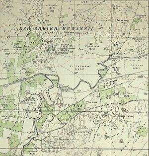 Al-Shaykh Muwannis - Esh Sheikh Muwannis from 1932 map. 1:20,000