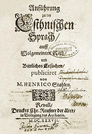 Estonian grammar - Estonian Grammar (1637) by Heinrich Stahl