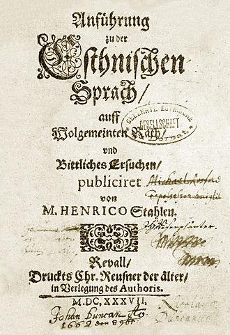 Estonian literature - Estonian grammar (1637) by Heinrich Stahl