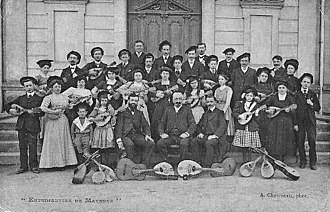 """Mandolin orchestra - The Mandolin """"Estudiantina"""" of Mayenne, France around 1900 when Mandolin orchestras were at the height of their popularity."""