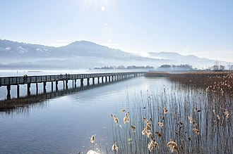 Canton of Schwyz - Modern wooden bridge on ''Obersee'' between Rapperswil and Hurden, near the site of the ancient bridges