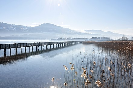 Modern wooden bridge on Obersee between Rapperswil and Hurden, near the site of the ancient bridges