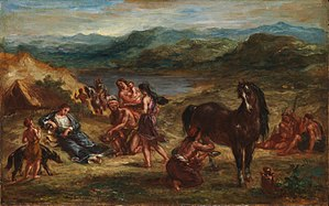 Exile of Ovid - Eugène Delacroix, Ovid among the Scythians, 1862, Oil on wood, Metropolitan Museum of Art.