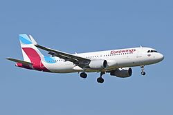 Eurowings A320-200 (D-AIZS) arrives London Heathrow 15Sep2015 arp.jpg