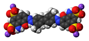 Space-filling model of the Evans blue molecule, sodium salt