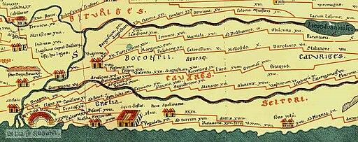 Extrait Tablede Peutinger Secteur Rhône et Alpes