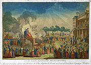 Etching of the festival of the Supreme Being, 8 June 1794.