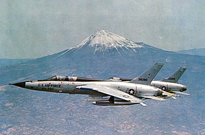 Republic F-105 Thunderchief - A USAF F-105F trainer and a F-105D with Mount Fuji in the background