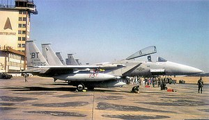 525th Fighter Squadron - F-15s of the 53d and 525th Tactical Fighter Squadrons returning to Bitburg Air Base after being deployed in support of Operation Desert Shield/Storm, 13 March 1991.