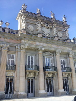 Royal Palace of La Granja de San Ildefonso - Baroque main facade with architectural sculptures.