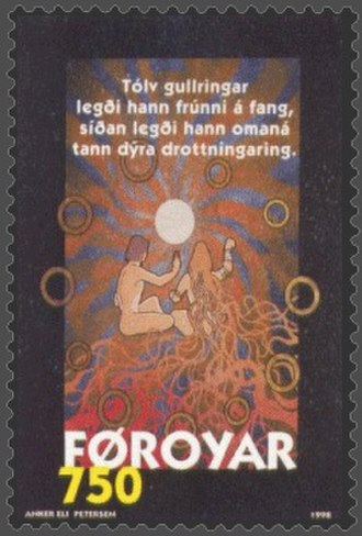 "Magic ring - ""Brynhild, Sigurd and the Rings"" Faroe stamp depicting magical rings from Norse mythology"