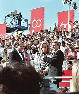 Faye Dunaway being interviewed by Army Archerd on the red carpet at the 60th Annual Academy Awards, April 11, 1988