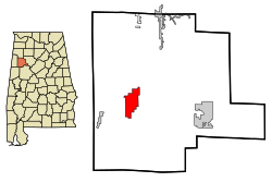 Location in Quận Fayette, Alabama