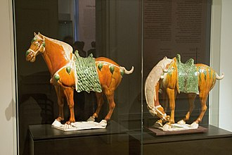 Ferghana horse - Two sancai-glazed Tang dynasty tomb figures, early 8th century
