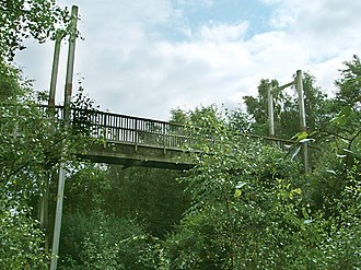 Stoke-on-Trent Garden Festival - 45-metre long suspension bridge of hardwood, spanning the Rocky Valley and joining the paths along the Woodland Ridge, 2005.